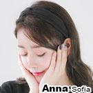 AnnaSofia 單色絨面璇結 韓式寬髮箍(酷黑系)