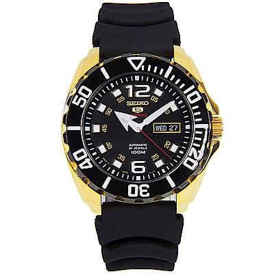 SEIKO 水鬼風經典5號手自動上鍊機械腕錶(SRPB40J1)-黑面金框x46.5mm