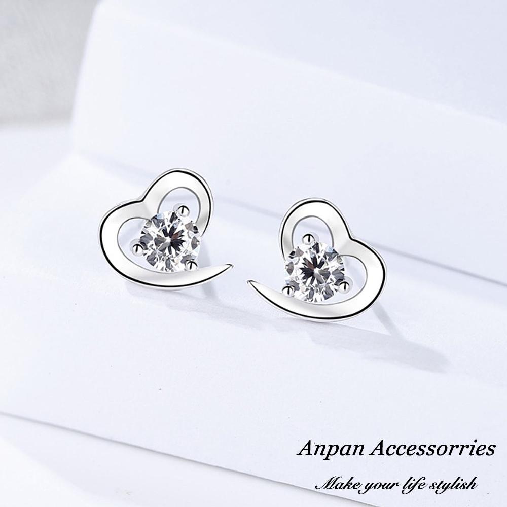 ANPAN愛扮S925純銀飾小香風甜蜜宣言鑽石白金耳釘式耳環
