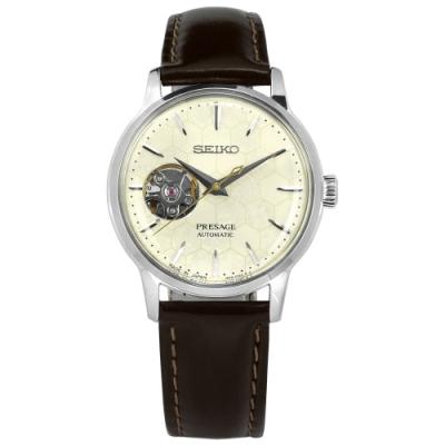 SEIKO 精工 限量款 PRESAGE 機械錶 自動上鍊 手錶-米白x銀x紅褐/41mm