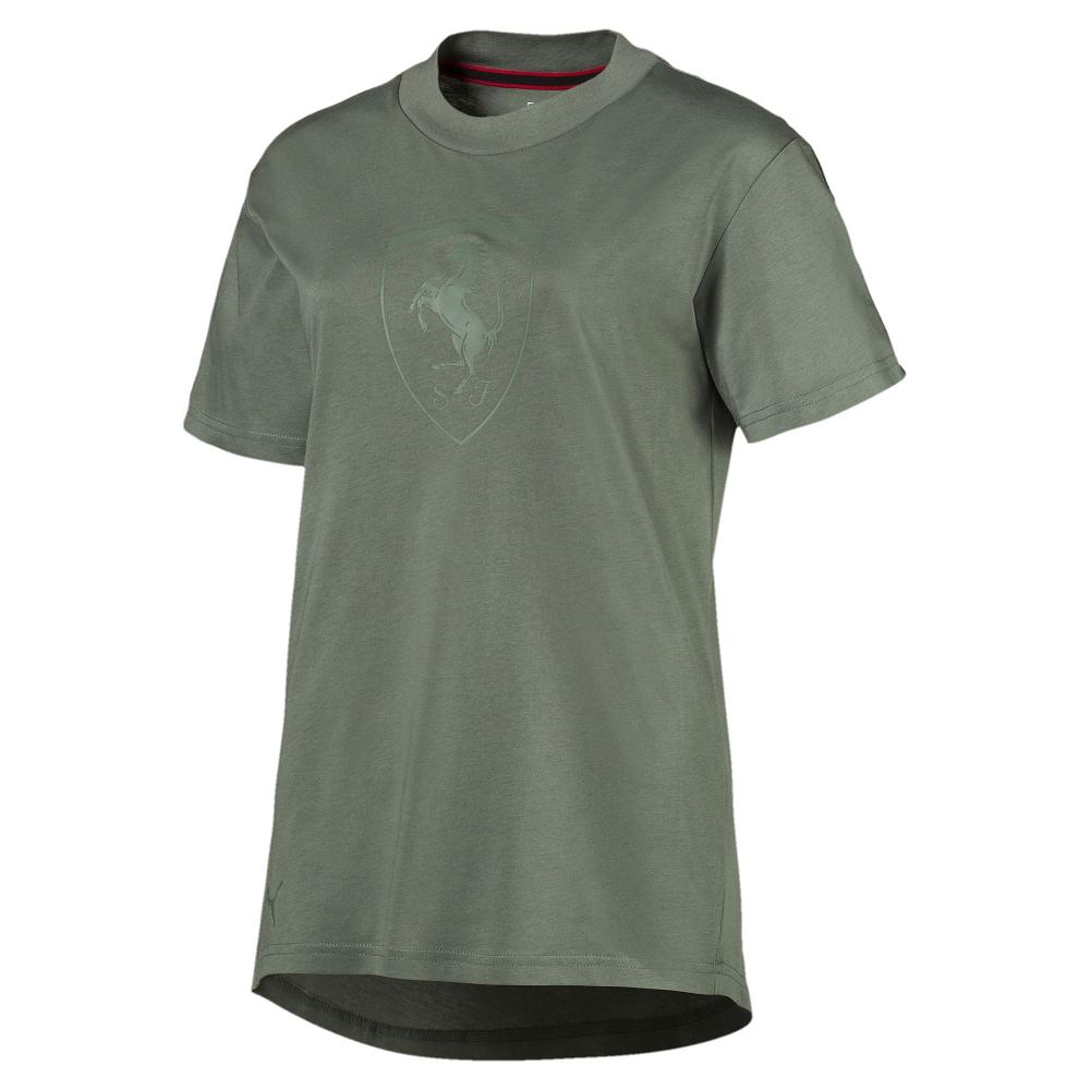 PUMA-女性法拉利經典系列大盾短袖T恤-桂冠綠-歐規