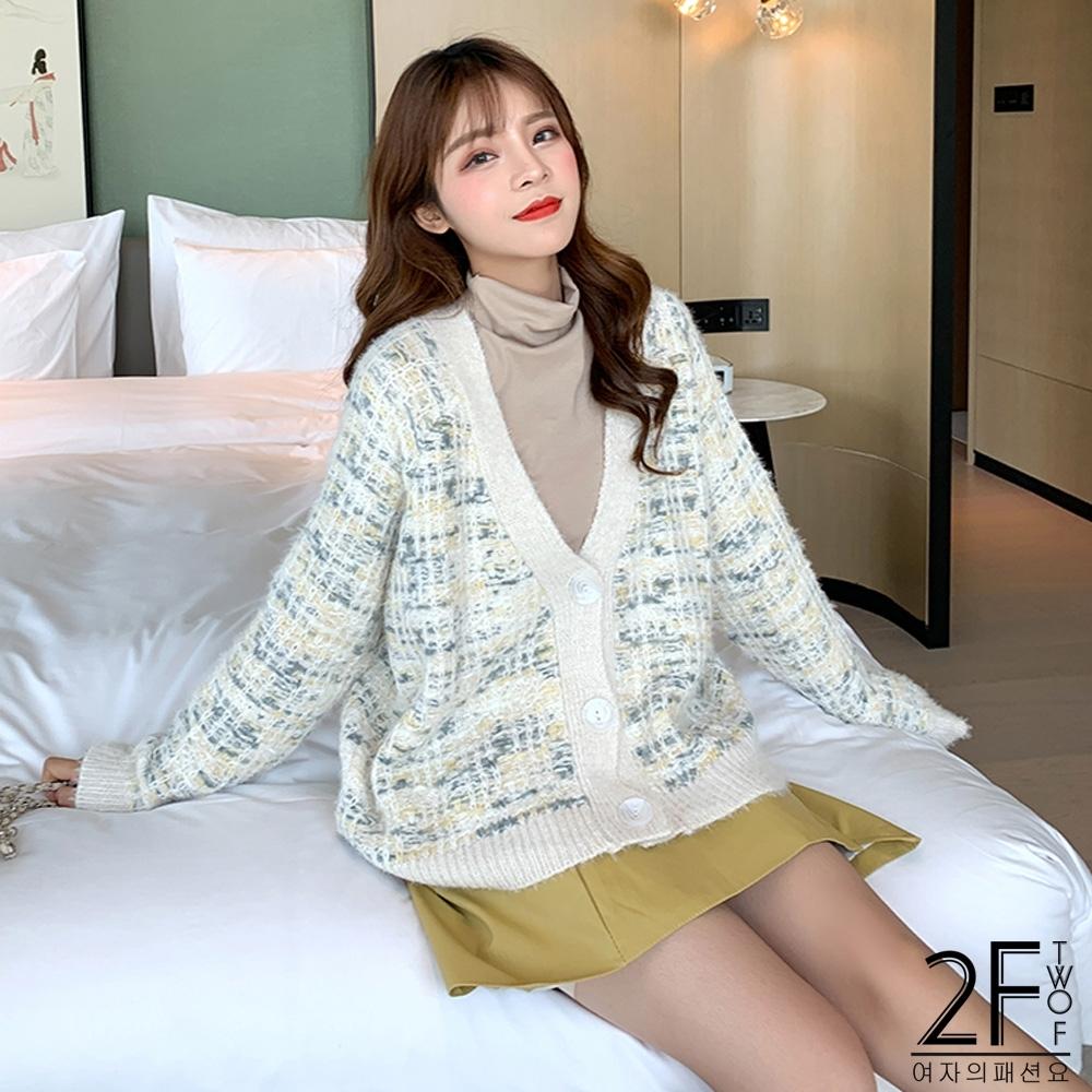 2F韓衣-小香風針織外套-2色-F