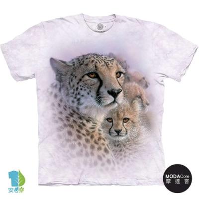 摩達客-美國進口The Mountain 溫馨親子豹 純棉環保藝術中性短袖T恤