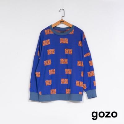 gozo 撞色滿版標語印花上衣(藍色)