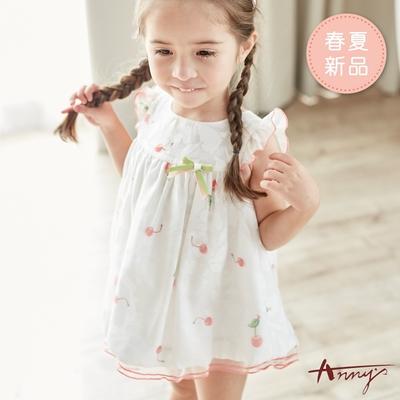 Annys安妮公主-夏日櫻桃網紗拼接春夏款荷葉袖BABY洋裝*9512白色