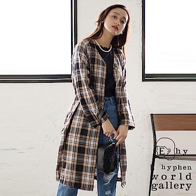 E hyphen 格紋腰綁帶長版襯衫/罩衫