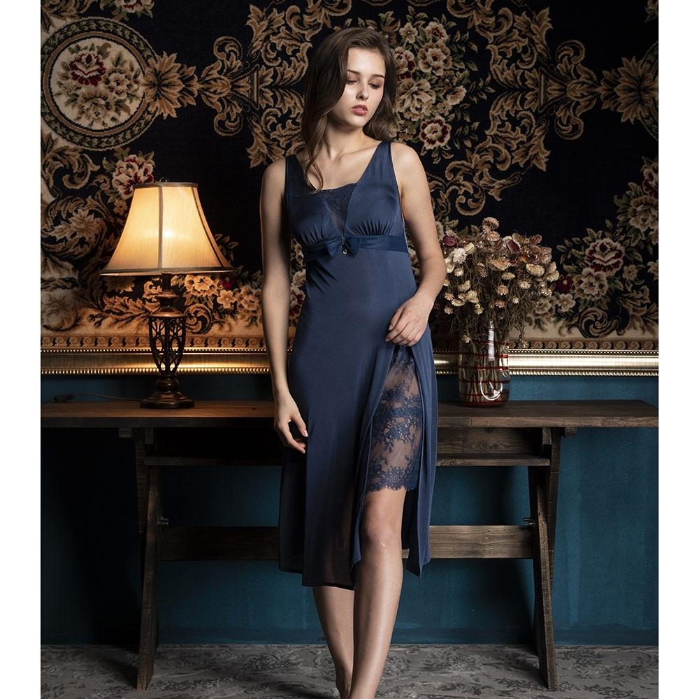 華歌爾睡衣-摩登 L-LL 性感裙裝(藍)超細纖維