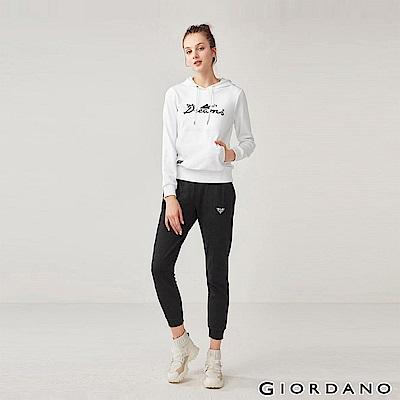 GIORDANO 女裝刺繡運動束口褲-01 標誌黑