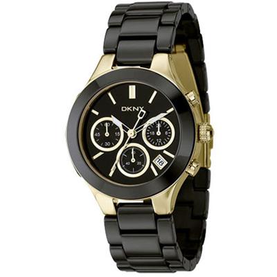DKNY 陶瓷三眼腕錶(NY4915)-黑x金/40mm
