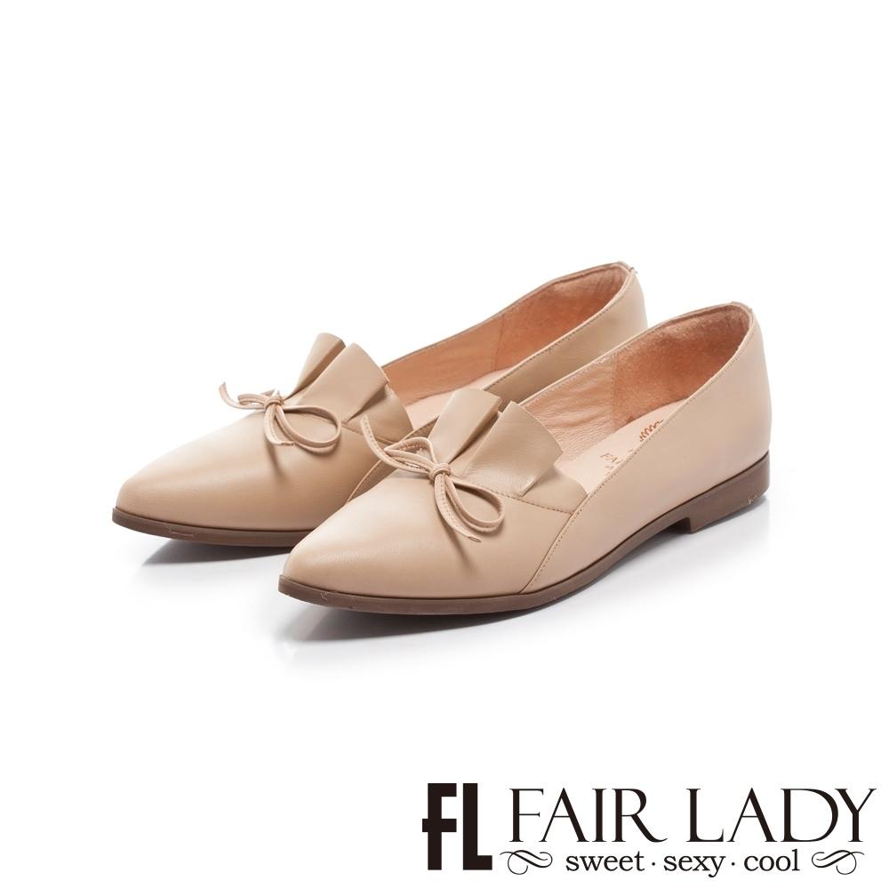 FAIR LADY 小時光 百摺皮革結飾尖頭平底鞋 粉
