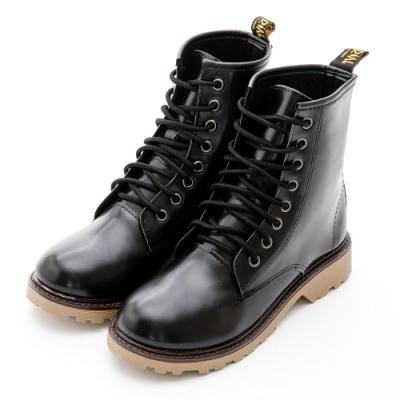 River&Moon中靴-台灣製經典8孔綁帶馬丁靴-光澤黑