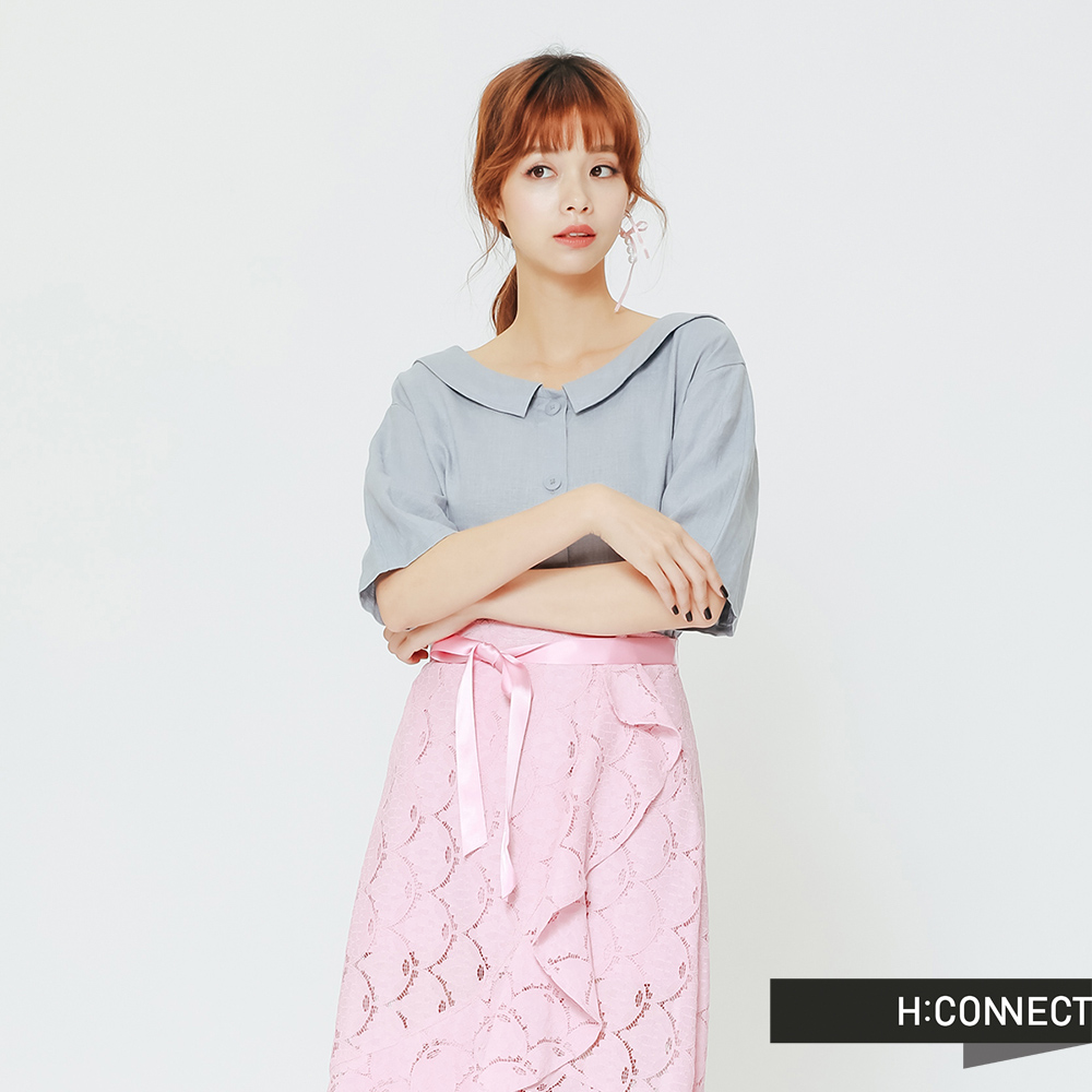 H:CONNECT 韓國品牌 女裝 -圓領排扣亞麻襯衫-藍(快) @ Y!購物