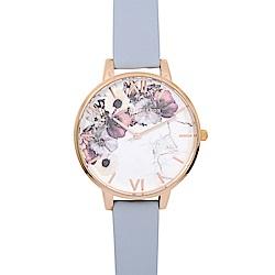 Olivia Burton 英倫復古手錶 大理石花卉紋路 粉藍色真皮錶帶玫瑰金框38mm