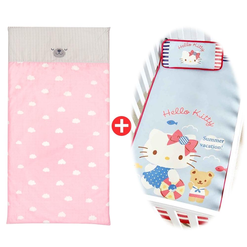 【les enphants 麗嬰房】雲朵熊防螨乳膠床墊+冰絲涼蓆/枕特惠組(任選)