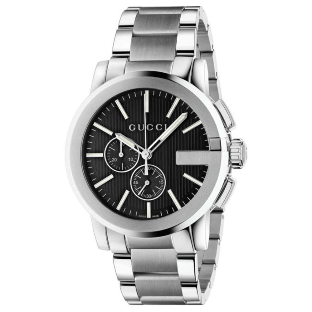GUCCI 古馳 G-Chrono黑色錶盤不銹鋼腕錶(YA101204)x44mm