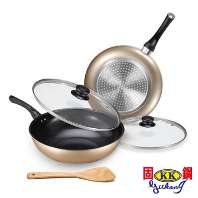 固鋼黃金陶瓷不沾雙鍋五件組-深炒鍋32cm+深煎鍋28cm(快)(時時樂)