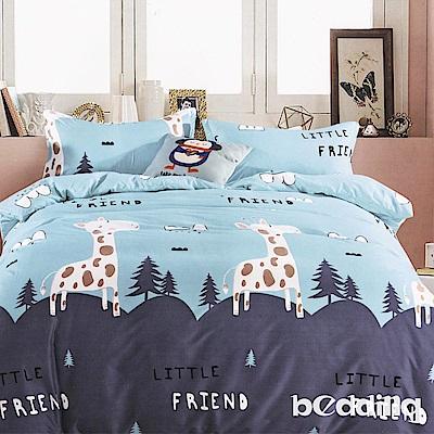 BEDDING-活性印染6尺雙人加大薄床包涼被組-小森林