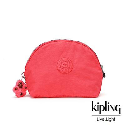 Kipling 亮橘色素面圓弧貝殼狀化妝包-ZADOK