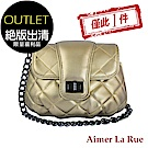 [福利品]Aimer La Rue 菱格轉釦鏈條側背包(金色)(絕版出清)
