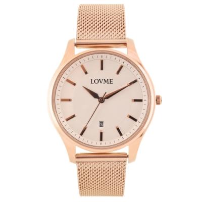 LOVME 文青時尚米蘭手錶-IP玫x白/41mm