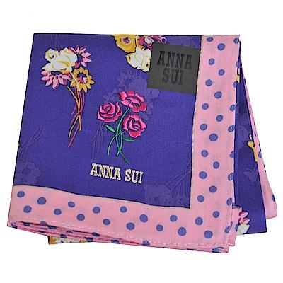 ANNA SUI  繽紛玫瑰花束金色字母LOGO刺繡領巾(紫/粉邊)