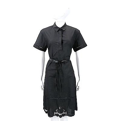 Max Mara 織花縷空黑色附皮帶襯衫式短袖洋裝
