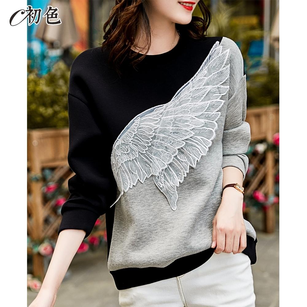 初色  拼接立體翅膀長袖T恤-黑色-(M-2XL可選)