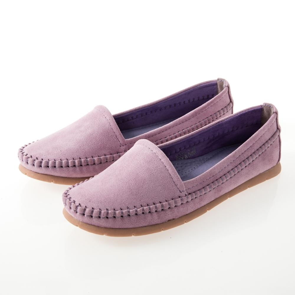 JMS-日系小清新素面平底休閒鞋-紫色