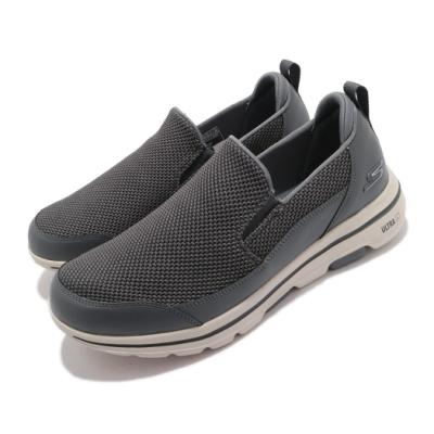 Skechers 休閒鞋 Go Walk 5-Authorize 男鞋 健走鞋 郊遊 踏青 支撐 避震 緩衝 灰 米 216043CHAR