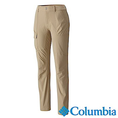 Columbia 哥倫比亞 女款- 防曬30防潑長褲-卡其UAR19870KI