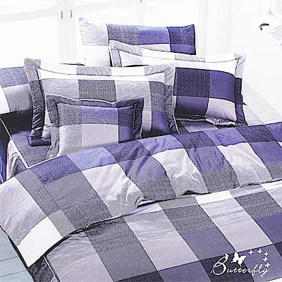BUTTERFLY-台製40支紗純棉加高30cm薄式雙人床包+雙人鋪棉兩用被-格子趣-藍