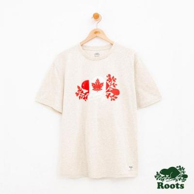 男裝Roots 海狸國旗短袖T恤-灰色