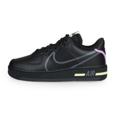 NIKE 男 休閒鞋 AIR FORCE 1 REACT 黑紫粉綠