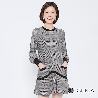 CHICA 甜美名媛混色編織縮口袖洋裝(1色)