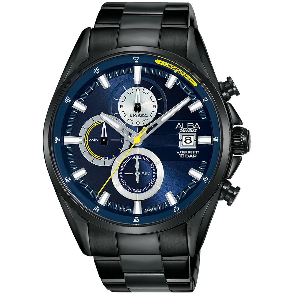 ALBA雅柏 年輕世代計時手錶(AM3601X1)-藍x鍍黑/43mm