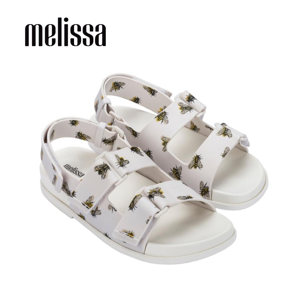 Melissa 滿版小蜜蜂寬帶涼鞋-白