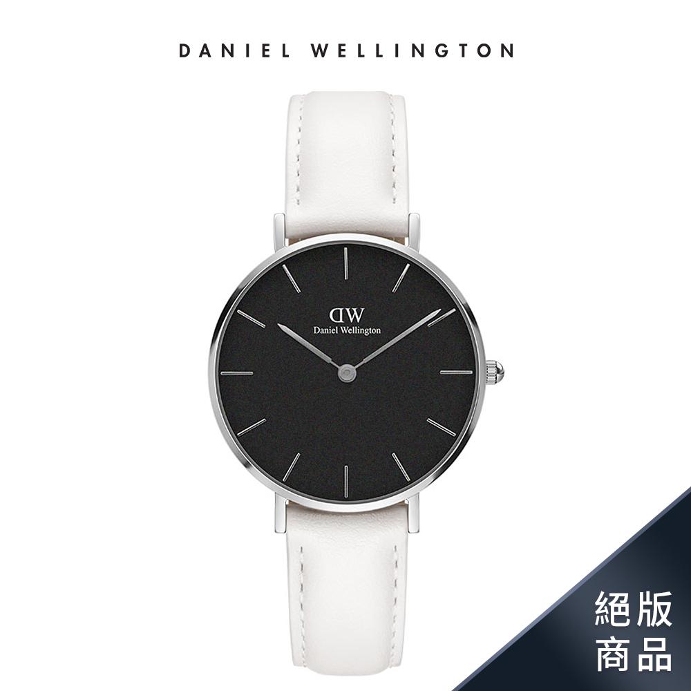 DW 手錶 官方旗艦店 32mm銀框 Classic Petite 純真白真皮皮革錶
