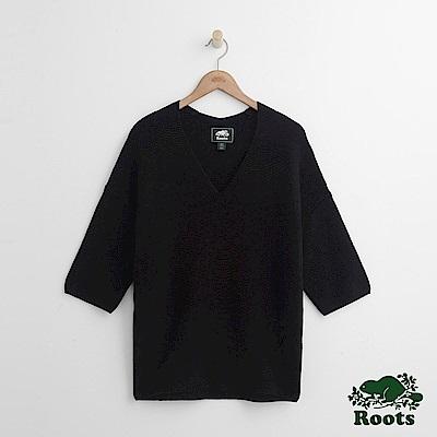 女裝Roots V領針織衫-黑