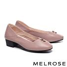 低跟鞋 MELROSE 經典質感金屬釦飾全真皮方頭低跟鞋-杏