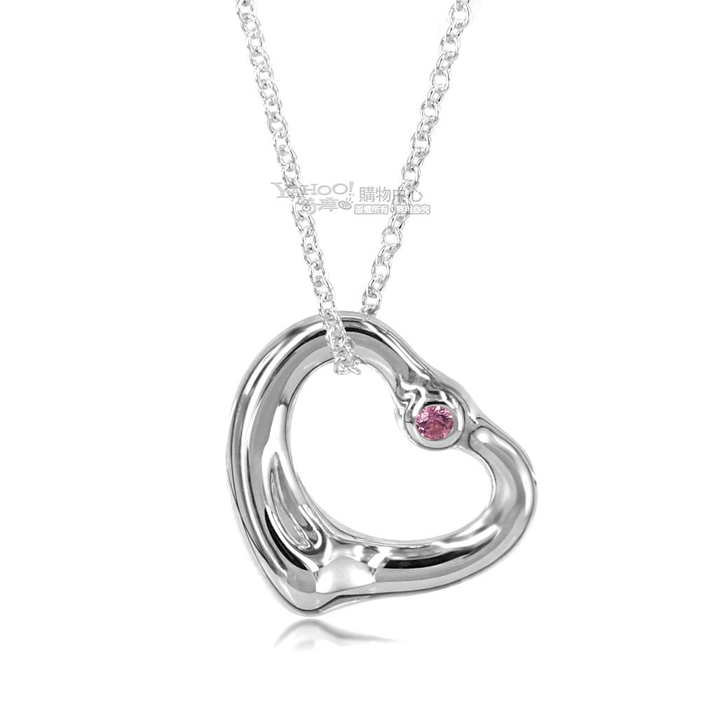 (無卡分期12期)Tiffany&Co. 純銀愛心鑲粉紅寶石項鍊