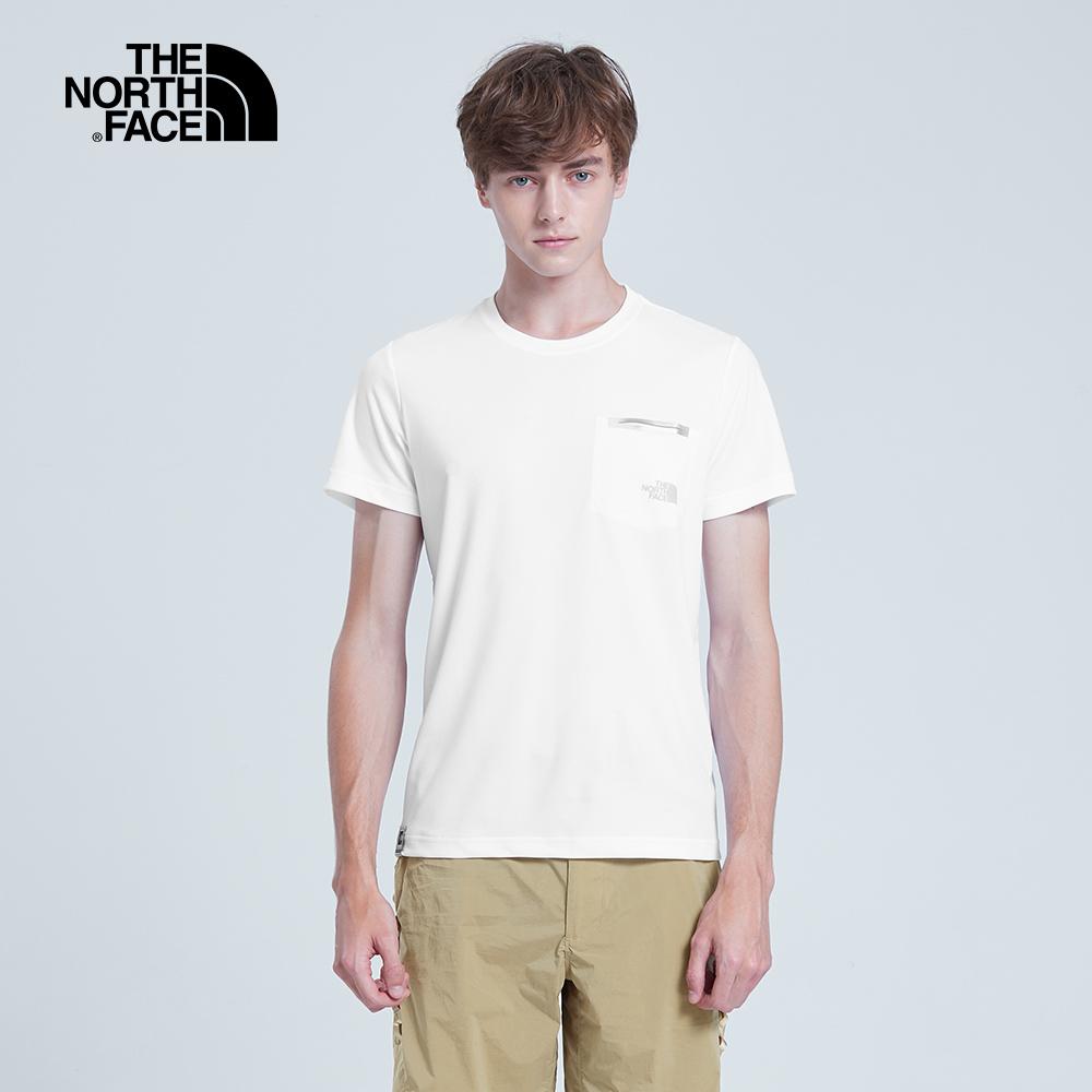 The North Face北面男款白色吸濕排汗T恤|3V4WFN4