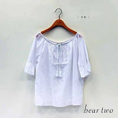 beartwo 寬領蕾絲點點上衣(白色)