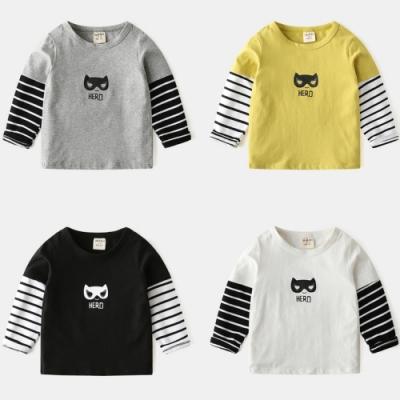 小衣衫童裝 男童長袖T恤假2件拼接條紋袖子上衣1090907
