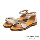 Tino Bellini啞光絨面荷葉邊平底涼鞋_灰白