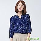 bossini女裝-印花七分袖罩衫01海軍藍