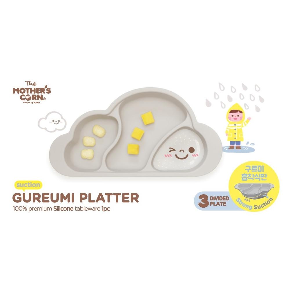 韓國 【Mother's Corn】 雲朵分隔矽膠餐盤(天空灰)