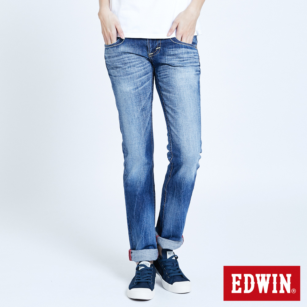 EDWIN BLUE TRIP袋蓋中直筒牛仔褲-女-拔淺藍