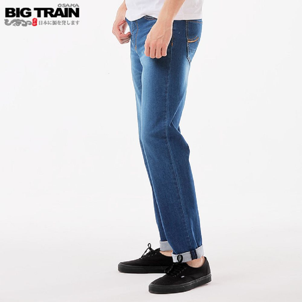 BigTrain加大薄彈天絲棉直筒褲-男-深藍