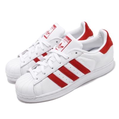 adidas 休閒鞋 Superstar 復古 低筒 男女鞋 愛迪達 三葉草 貝殼頭 皮革鞋面 穿搭 白 紅 EF9237