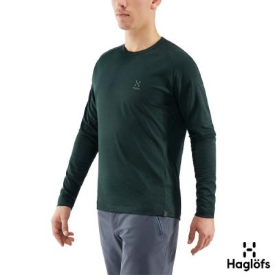 新品↘Haglofs 男 Curve 快乾 舒適 長袖圓領衫 礦物綠
